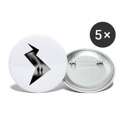 t shirt coup de foudre noir et blanc amour love - Lot de 5 petits badges (25 mm)
