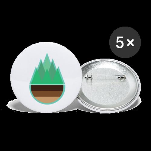 Wald   Natur Baum Erde Bäume - Buttons klein 25 mm (5er Pack)
