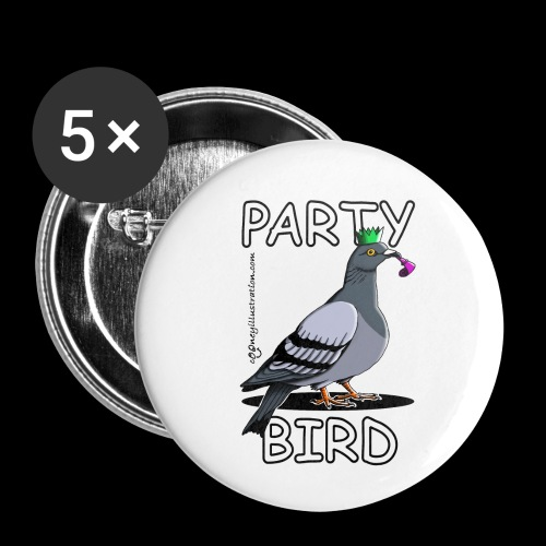 Party Bird - Buttons small 1''/25 mm (5-pack)