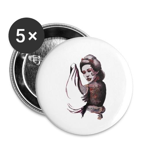 Geisha - Lot de 5 petits badges (25 mm)