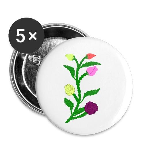 fleurs - Lot de 5 petits badges (25 mm)