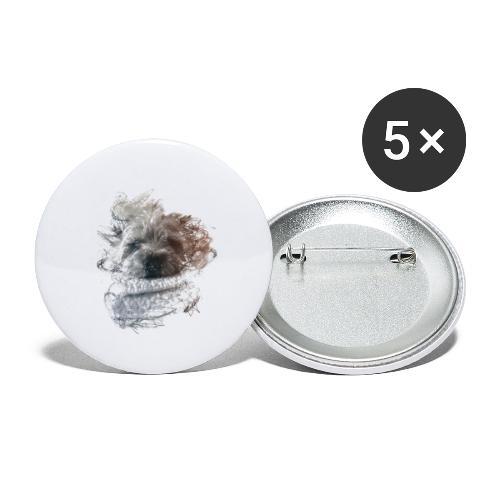 chien - Lot de 5 petits badges (25 mm)