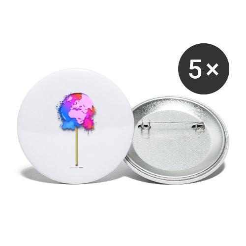 TShirt lollipop world - Lot de 5 petits badges (25 mm)