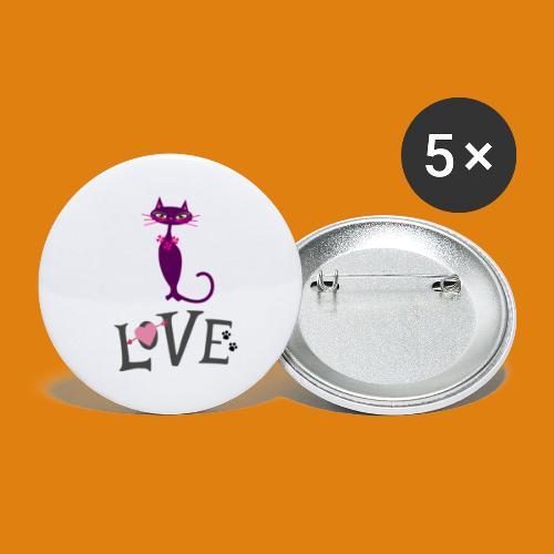 t-shirt cat love - Buttons small 1''/25 mm (5-pack)