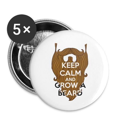 Calm and Beared - Lot de 5 petits badges (25 mm)