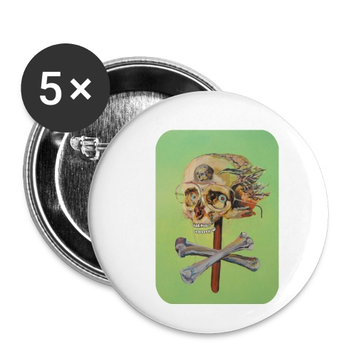 oil painting of skull and bones - Buttons klein 25 mm (5-pack)