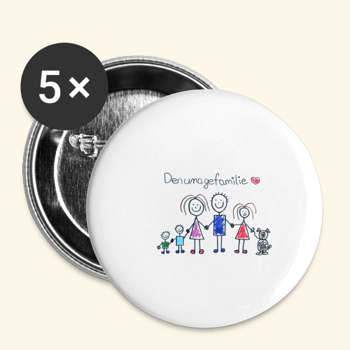 DenUmageFamilie - Buttons/Badges lille, 25 mm (5-pack)
