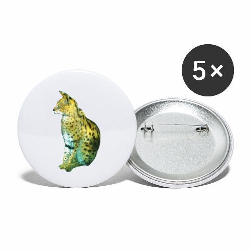 Schöner sitzender Serval - Buttons klein 25 mm (5er Pack)