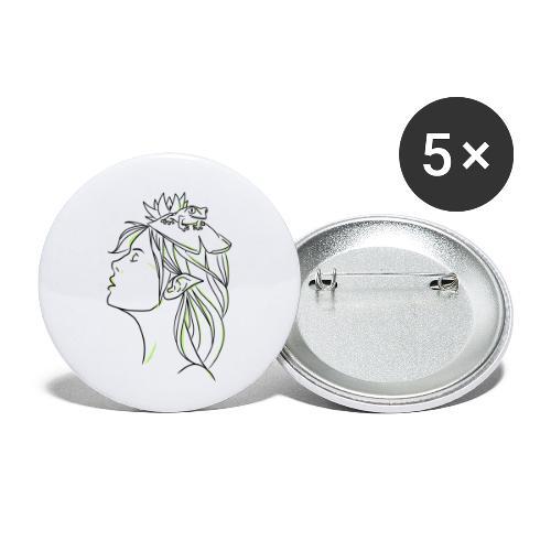 FILLE GRENOUILLE - Lot de 5 petits badges (25 mm)