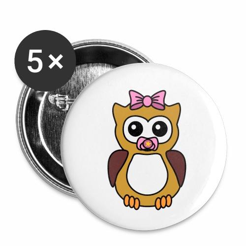Eule Mädchen Schnuller - Buttons klein 25 mm (5er Pack)