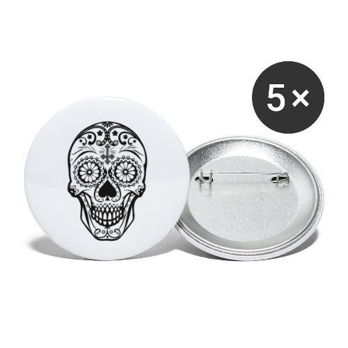 Skull black - Buttons klein 25 mm (5er Pack)