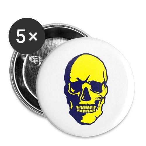 tete de mort crane halloween fantaisie 2 - Lot de 5 petits badges (25 mm)
