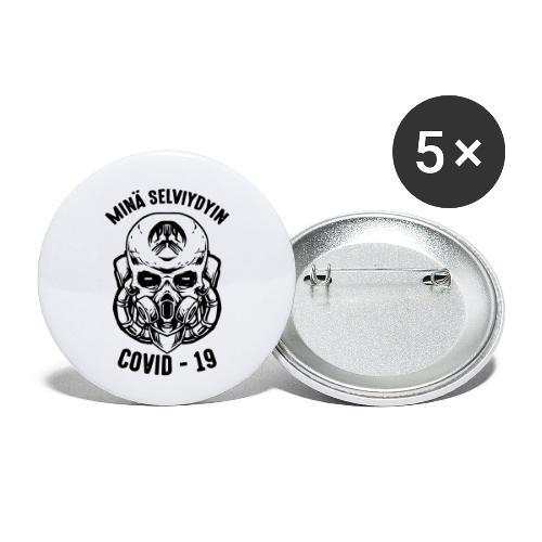 COVID-19, minä selviydyin - Rintamerkit pienet 25 mm (5kpl pakkauksessa)