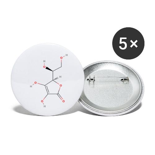 Vitamin C Molecule - Colored Structural Formula - Buttons/Badges lille, 25 mm (5-pack)