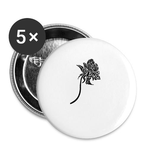 Rose tribal - Lot de 5 petits badges (25 mm)