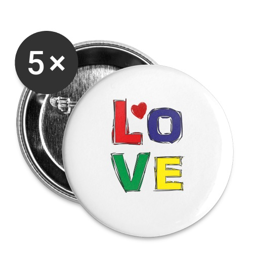 LOVE - Buttons klein 25 mm (5er Pack)