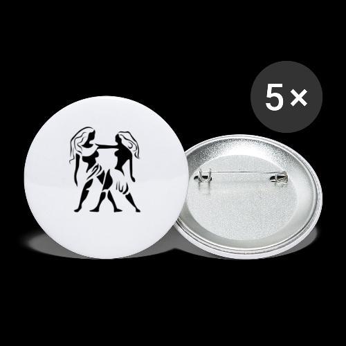 STERNZEICHEN ZWILLING - Buttons klein 25 mm (5er Pack)