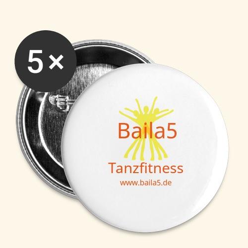 Baila5 Tanzfitness gelb - Buttons klein 25 mm (5er Pack)