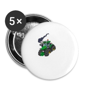 GREEN TRACTOR white border - Buttons klein 25 mm
