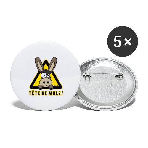 Âne, Tête de mule, tetu - Lot de 5 petits badges (25 mm)