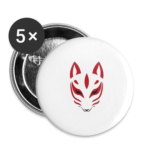 Renard Kitsune Minimaliste - Lot de 5 petits badges (25 mm)