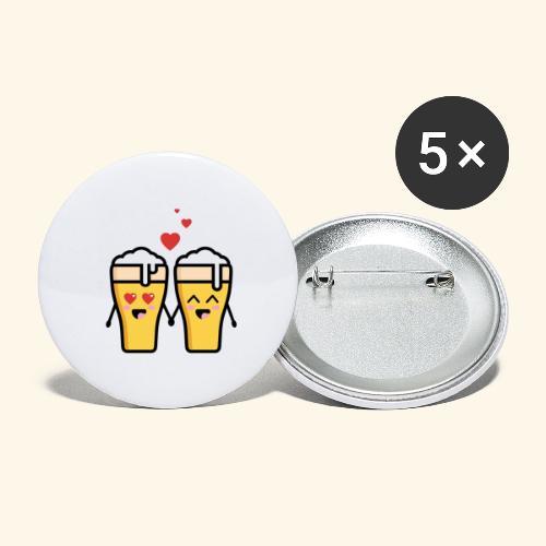 Beer love kawaii - Lot de 5 petits badges (25 mm)