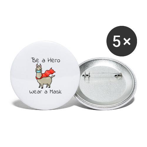 Sei ein Held, trag eine Maske - fight COVID-19 - Buttons klein 25 mm (5er Pack)