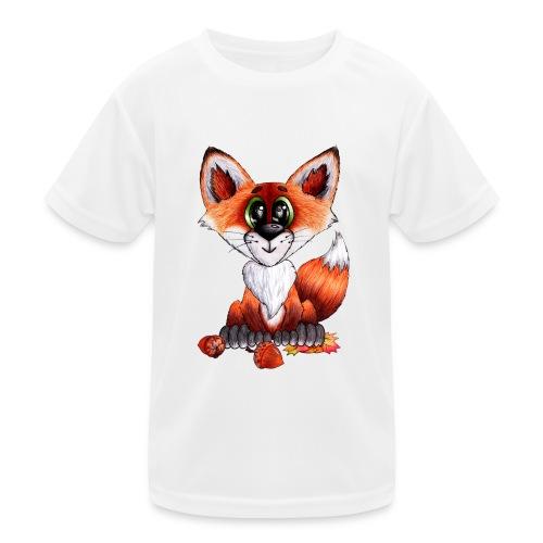 llwynogyn - a little red fox - Lasten tekninen t-paita