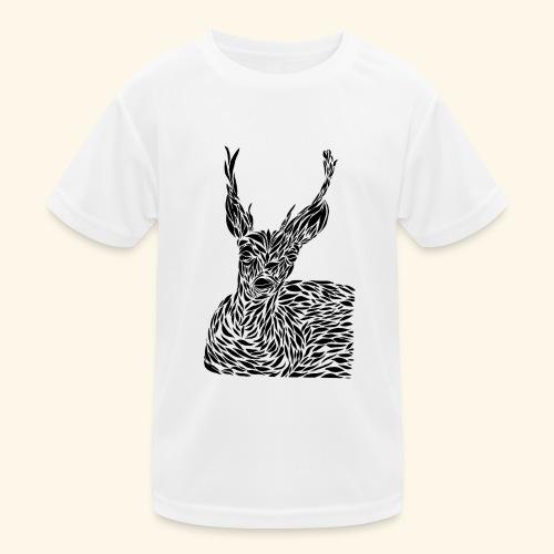 deer black and white - Lasten tekninen t-paita