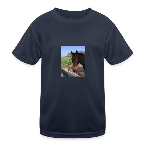 Met bruin paard bedrukt - Functioneel T-shirt voor kinderen