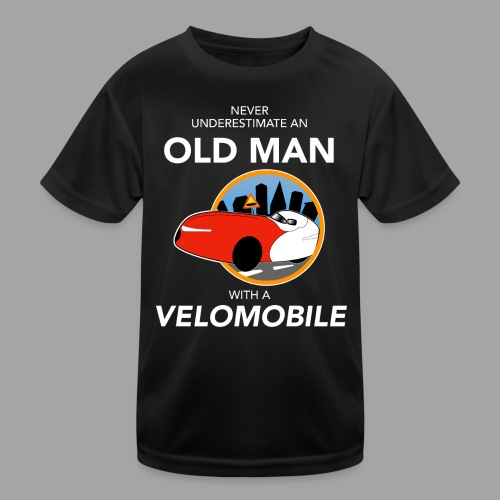 Never underestimate an old man with a velomobile - Lasten tekninen t-paita
