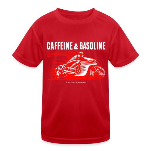Caffeine & Gasoline white text - Kids Functional T-Shirt