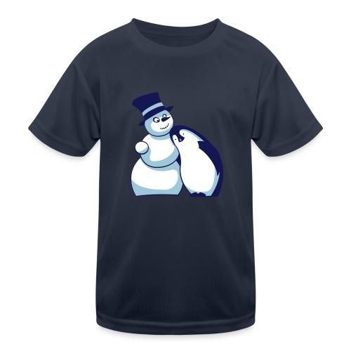 Schneemann und Pinguin - Kinder Funktions-T-Shirt