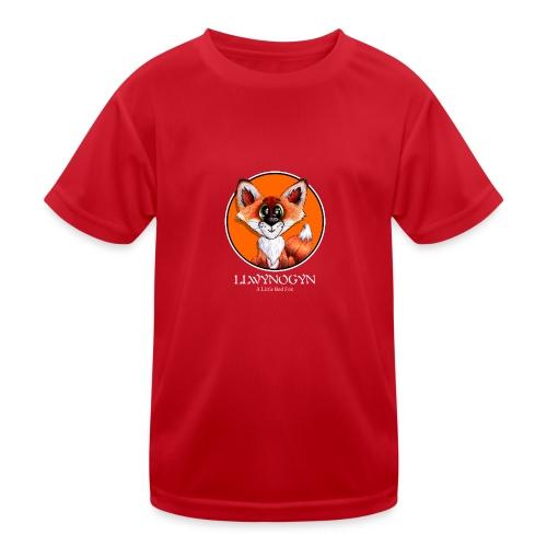llwynogyn - a little red fox (white) - Lasten tekninen t-paita