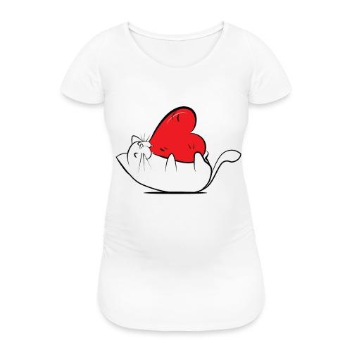 Cat Love - Vrouwen zwangerschap-T-shirt