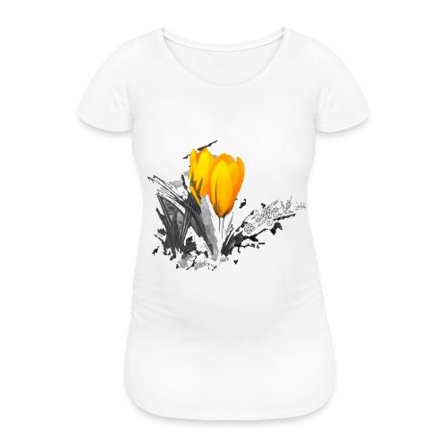 Oriental Yellow Flower - Frauen Schwangerschafts-T-Shirt