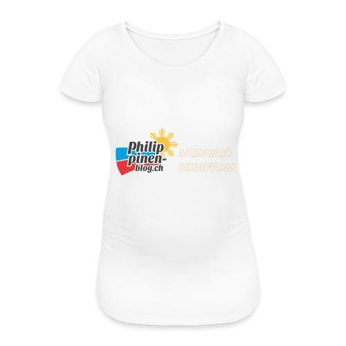 Philippinen-Blog Logo deutsch orange/weiss - Frauen Schwangerschafts-T-Shirt