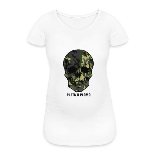 Colombian skull - plata o plomo - Frauen Schwangerschafts-T-Shirt