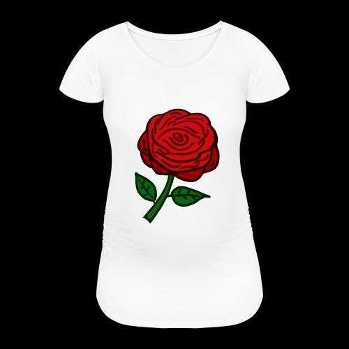 Rote Rose - Frauen Schwangerschafts-T-Shirt