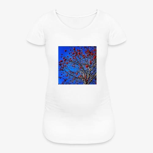 Red Flowers and Blue Sky - Maglietta gravidanza da donna