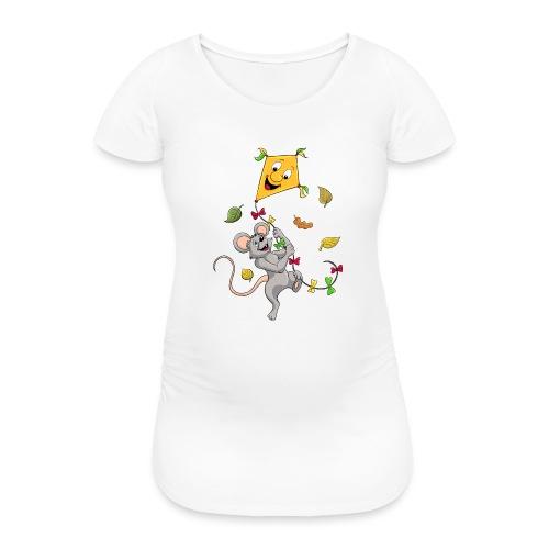 Maus mit Drachen im Herbst - Frauen Schwangerschafts-T-Shirt