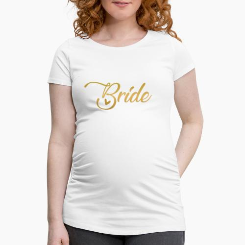 Bride - yellow lettering with a decor. heart - Women's Pregnancy T-Shirt