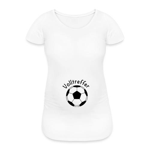 Fußball Volltreffer, schwanger, Babybauch, Geschen - Frauen Schwangerschafts-T-Shirt