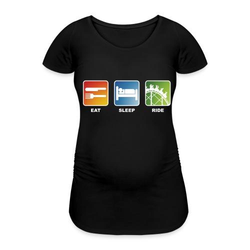 Eat, Sleep, Ride! - T-Shirt Schwarz - Frauen Schwangerschafts-T-Shirt