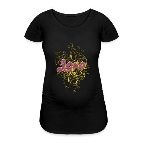 LOVE VIOLA CON DECORI - Maglietta gravidanza da donna