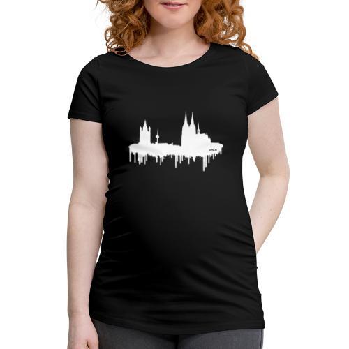 Skyline Köln - Weiß - Frauen Schwangerschafts-T-Shirt