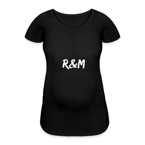 R&M Large Logo tshirt black - Women's Pregnancy T-Shirt