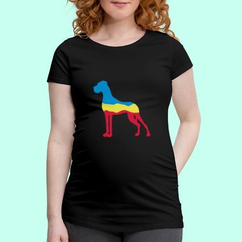 Flaggen Dogge - Frauen Schwangerschafts-T-Shirt