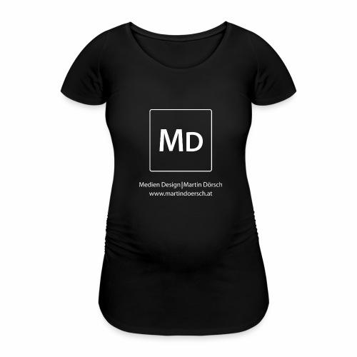 MD Logo - weiß - Frauen Schwangerschafts-T-Shirt