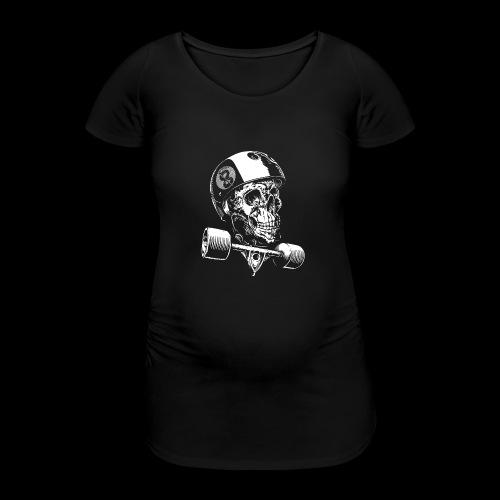 Skull Longboard Rider - negative print - T-shirt de grossesse Femme
